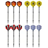 Vopa 17 Grams 12 Pack Soft Tip Dart Set with 4 Styles Dart Flights and 24 Plastic Soft Tip Points for Electronic Dartboard