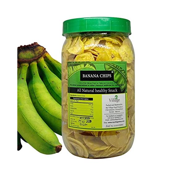 My Village Banana Chips / Thin Crunchy Slices / Kerala Banana Chips in Pure Coconut Oil - 400g