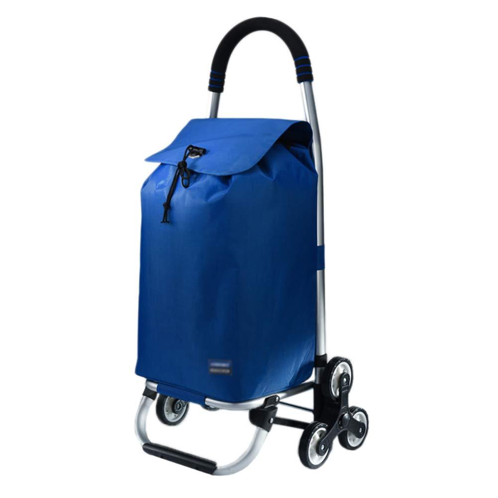 折りたたみショッピングカート食料品カート高齢者ポータブルホームクライミング階段折りたたみトロリー車 (色 : 青)  青 B07HDJKFY2