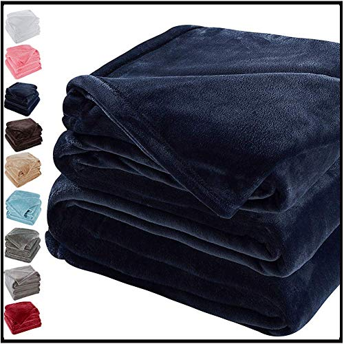 Sonoro Kate Fleece Blanket Soft Warm Fuzzy Plush Throw(60-Inch-by-43-Inch) Lightweight Cozy Bed Couch Blanket,Easy Care,Royal Blue