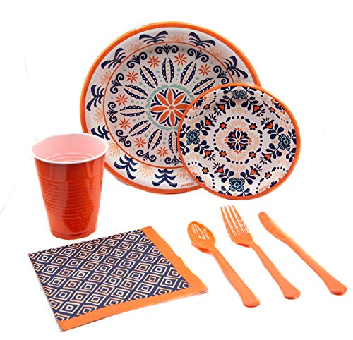(Pantone Living Color Medallion Pack! Disposable Paper Plates, Napkins and Cups Set for 15 (With free extras))