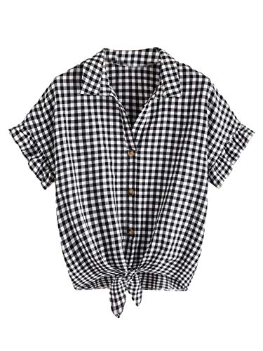 - MAKEMECHIC Women's Casual Plaid Crop Tops Ruffle Sleeve Knot Front Casual Blouse Black L