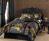Chezmoi Collection 7-Piece Palace Dragon Jacquard Comforter Set, California/California King, Black/Gold/Red