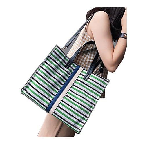 Skyseen Stripe Denim Crossbody Messenger Shoulder Bag Tote Handbag Simple Purse,Green