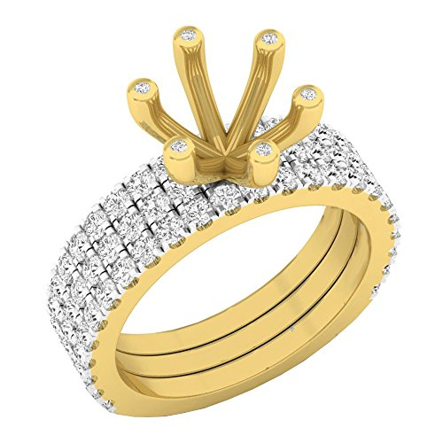 Dazzlingrock Collection 0.90 Carat (ctw) 14K Round Diamond Semi Mount Bridal With Double Band Set, Yellow Gold, Size 4.5 ()