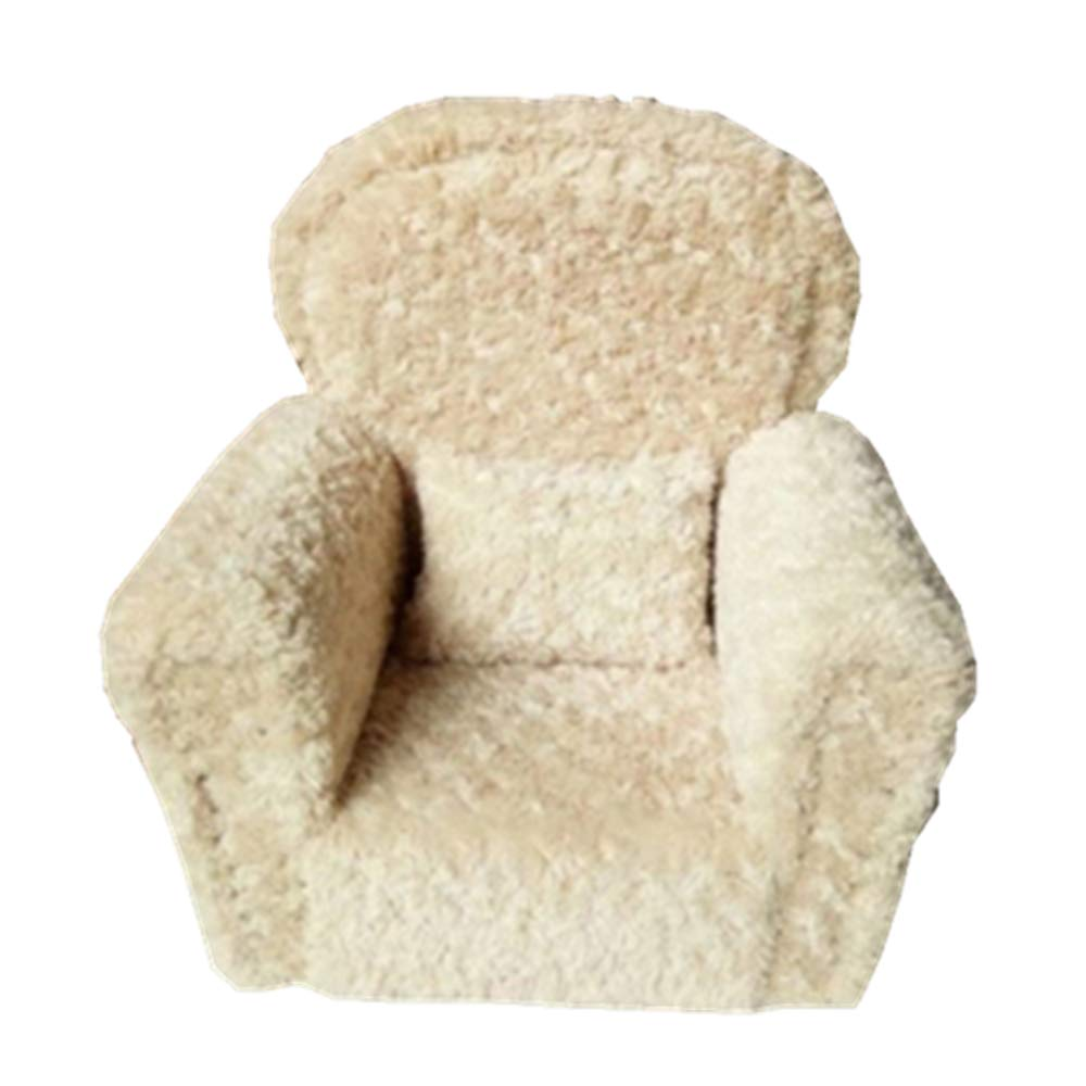 Dvotinst Newborn Photography Props, Soft Posing Mini Sofa Poser Arm Chair for Baby Photo Shooting, Studio Accessories Props 0-12M (Beige)