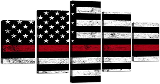 Amazon Com Thin Red Line Firefighter Usa Us American Flag Canvas