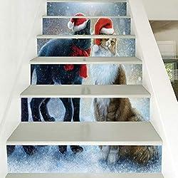 Benfa Escaleras Pegatinas, Bricolaje Navidad Renovación Autoadhesivas Pegatinas De Pared Extraíble 6 Piezas