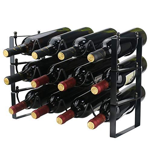 Ogrmar 3 Tier Stackable Wine Rack Countertop Cabinet Wine Holder Wine Storage Shelf Hold 12 Bottles for Kitchen, Bar, Pantry, Wine Cellar, Basement, Countertop, Cabinet