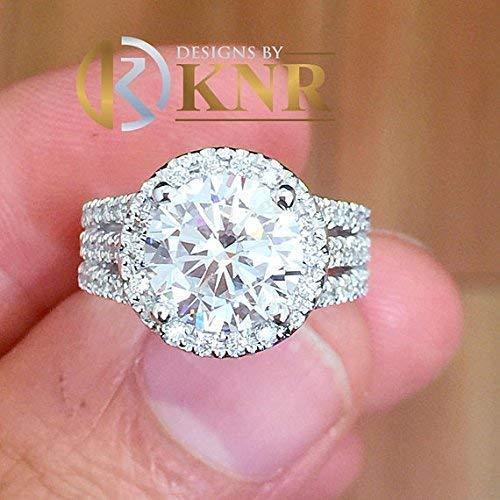 Stunning 14k Round Diamond - Large Womens's 4.00 Carat Round Cut Simulated Diamond Engagement Ring Bridal Wedding Halo Set in 14K Solid White Gold Stunning