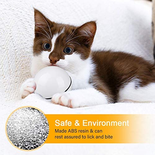 Unibelin Interactive Cat Toy Ball-Smart Pet Toy Self Rotation Rolling Ball USB Rechargeable Built-in LED Light for Cat Kitty Exercise Chase Play 5
