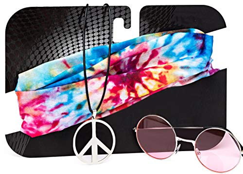 70s Costumes for Women | Hippie Costume for Women with Sunglasses, Peace Sign Necklace & Tie Dye Headband Pink -