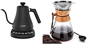 COSORI Electric Gooseneck Kettle with 5 Variable Presets, Pour Over Coffee Maker with 8 Cup Glass Coffee Pot&Coffee Brewer with Stainless Steel Filter