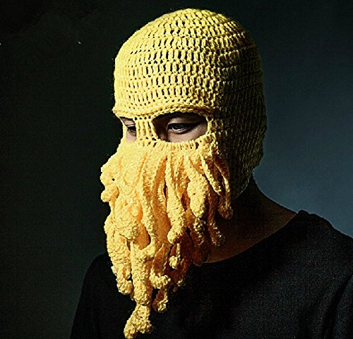 Fashion Style Unisex Men Women Knit Wool Octopus Beanie Hat Cap Skiing Cycling Riding Costume Squid Mask Winter Wind Stopper Outdoor Sports Cosplay Balaclava Full Facemask Headwear (Homemade Halloween Football Costumes)