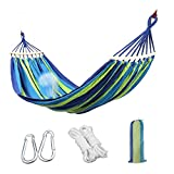 Camping Hammock, Aukee Striped Canvas Fabric Portable Garden Hammocks Ultralight Outdoor Beach Swing Bed with Strong Rope+Stuff Sack(78.74''×39.37'' , Blue Stripes, Single)
