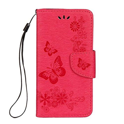 Protege tu iPhone, Para el iPhone 8 presionó el patrón de la mariposa de las flores patrón la caja de cuero horizontal del tirón con el sostenedor y las ranuras para tarjeta y la carpeta y el acollado
