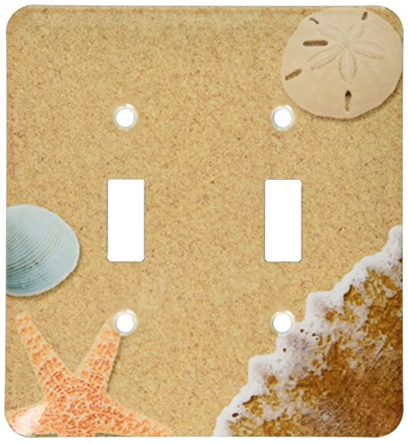 3dRose lsp_172139_2 Sandy Beach with Shells - Double Toggle Switch