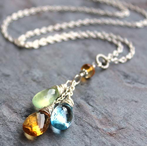(Multi Gemstone Necklace Blue Topaz Citrine Prehnite Dangling Pendant Sterling Silver 18 Inch)