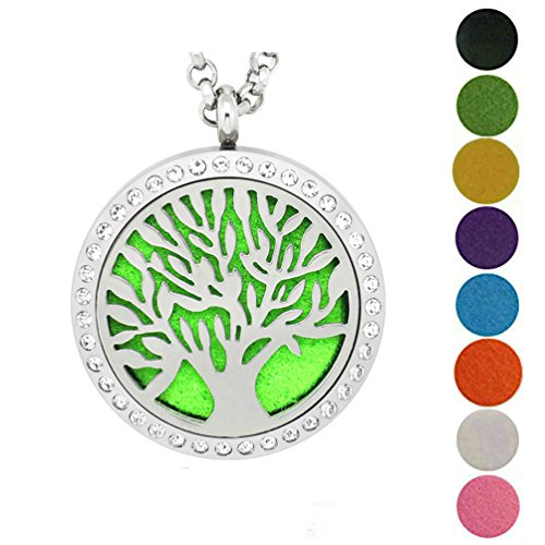 Tree Of Life Diffuser Necklace Aromatherapy Stainless Steel Perfume Locket Jewelry By JAOYU