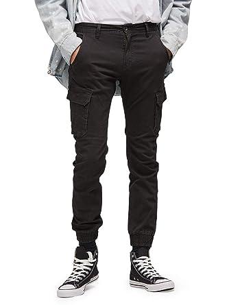 29b0040fb4 OCHENTA Men's Tapred Leg Jogger Pants, Stretch Twill Cargo Pockets Solid  Black Tag 30 -