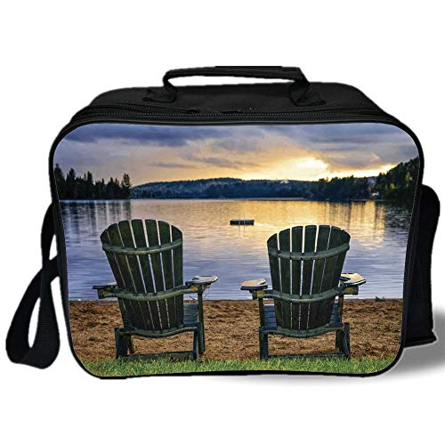 Provincial Baby Spoon - Insulated Lunch Bag,Seaside Decor,Two Wooden Chairs on Relaxing Lakeside at Sunset Algonquin Provincial Park Canada,Navy Green,for Work/School/Picnic, Grey