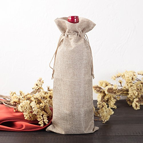 Wine Bottle Gift Bags (2-Pack) – Reusable Burlap with Drawstring – Khaki and Heather Grey Colors – 5.9 in x 13.7 in – Great Gift for Wine Lovers, Bridesmaids, Birthdays, or Anniversaries