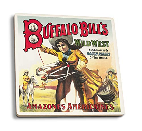 Lantern Press Buffalo Bill's Wild West - Amazones Americaines Vintage Poster France c. 1905 (Set of 4 Ceramic Coasters - Cork-Backed, Absorbent) ()