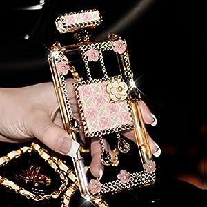 Sasa(TM)iPhone 6Plus/6S Plus Case ,3D Handmade Luxury Elegant Bling Diamond Crystal Lovely Daisy Flower Perfume Bottle Shaped Chain Handbag Case Cover for iPhone 6Plus/6S Plus (5.5inch) (Pink)