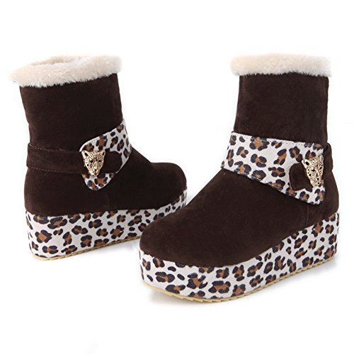 Boots Short B 5 4 Round Womens Leopard Colors Kitten Toe AmoonyFashion Heels M US Plush Assorted Pattern Brown Closed with xvRwpqAnY