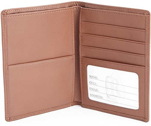Royce Leather Rfid Blocking Bifold Passport Currency Travel Wallet, Tan