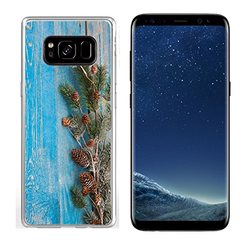 Luxlady Samsung Galaxy S8 Clear case Soft TPU Rubber Silicone IMAGE ID: 34466638 Christmas background with fir branches pinecones and berries on the old wooden board in vi
