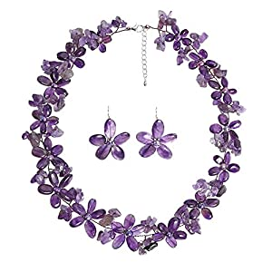 AeraVida Cultured Freshwater Purple Pearls (Dyed) and Purple Quartz Flower Necklace Earrings Jewelry Set