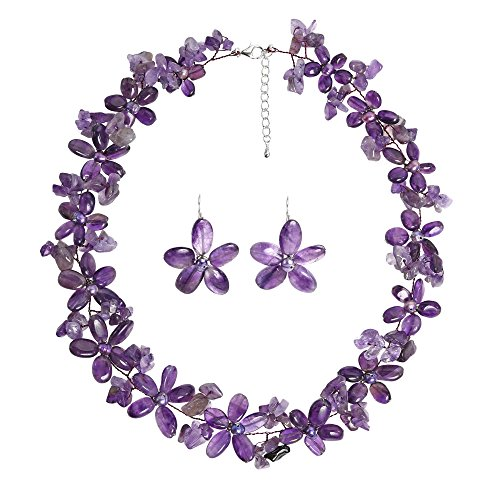 AeraVida Cultured Freshwater Purple Pearls (Dyed) and Purple Quartz Flower Necklace-Earrings Jewelry Set