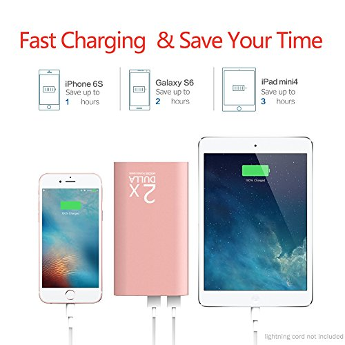 DULLA M50000 Portable Power Bank 12000mAh External Battery Charger, Ultra Slim Design with 2 USB Ports for iPhone, iPad, Galaxy and More (rose gold) Photo #7
