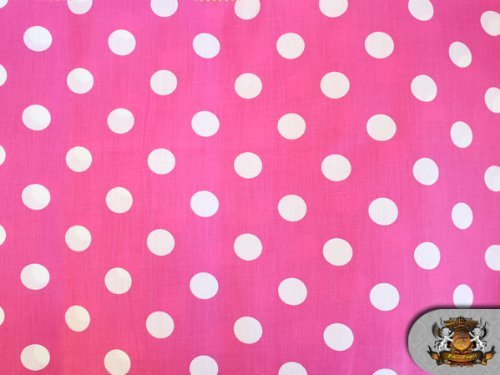 Polycotton Printed POLKA DOTS WHITE PINK BACKGROUND Fabric B