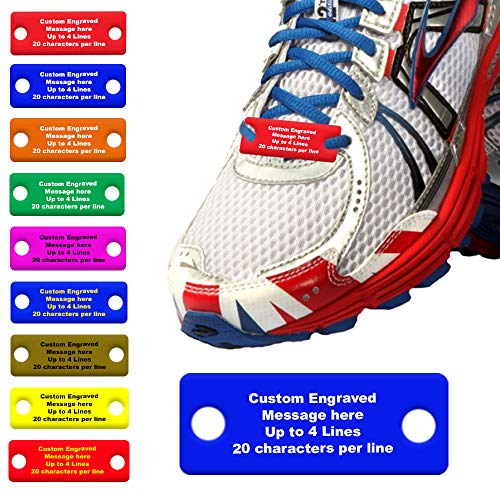 Waterproof Shoe ID Tag Personalized Impact Acrylic - in Case of Emergency Identification for Runners, Cyclists, Athletes, Travelers, Fitness, and Children (Blue/Yellow) (Treatment For Short Term Memory Loss In Elderly)