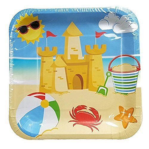 Beach Party Plate - Sea Shore Day At The Beach Summertime Party Plates (28) And Napkins (40) Bundle
