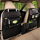 2 PACK PU Leather Car Backseat Organizer ,MLOVESIE Travel Storage Protectors for Kids Toys Bottles Tissue Box Cellphone IPad Tablet Umbrella