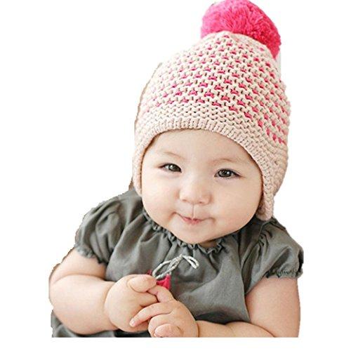 Babybekleidung Hüte & Mützen Longra Winter Baby Kinder Mädchen Jungen Warme Wollene Haube Strickmütze Mützen Wolle Hüte(0-2YEARS) (Beige)