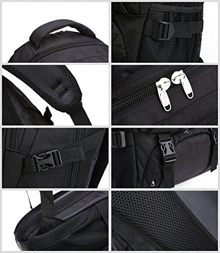 KOPD Outdoor Laptop Backpack Office Backpack Travel Computer Bag School Backpack fits 15.6 inch Laptop and Notebook to Working,School,Camping and Travel(Black) by KOPD (Image #5)