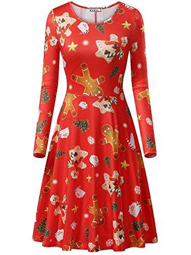 KIRA Ugly Christmas Dress Long Sleeve Holiday Dresses S Gingerbread Man