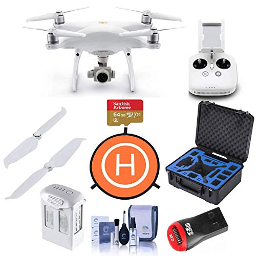 DJI Phantom 4 Pro V2.0 Quadcopter Drone with Remote Controller - Bundle with 64G B MicroSDHC Card, Go Professional Carrying Case, Intelligent Battery, Propellers, and More
