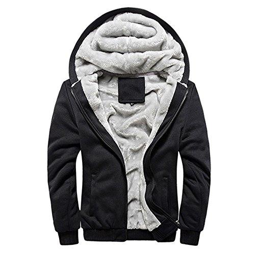 S&S Men's Casual Cotton Blend Faux Fur Lined Warm Hooded Sweatshirts Jacket (Cotton Blend Jacket)