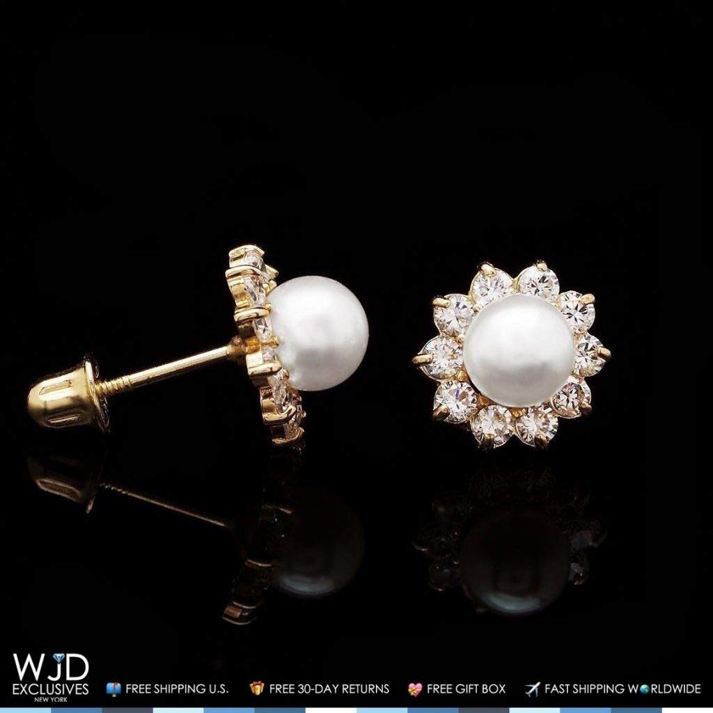 14k Yellow Gold Created Diamond Freshwater Pearl Halo Flower Stud Earrings 8mm