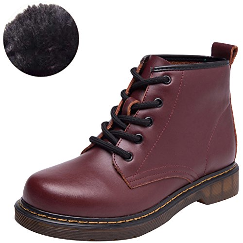 Martin Women's With Winter Boots Style2 Fashion Wine Shoes Closure Round Fall MatchLife Toe Lace Fleece Suede wq1pXWdv