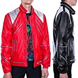 Mjb2c-Michael Jackson Costume Beat it Metal Zipper Leather Jacket Red Black