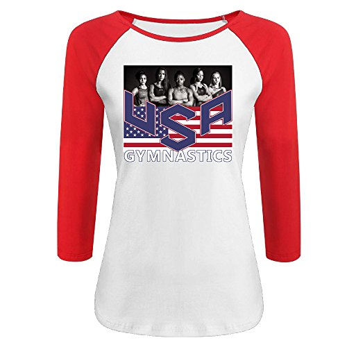HJSHZ Women's 2016 Rio Olympic Games USA Gymnastics Half Sleeve T-shirts (Mascot Uniforms)
