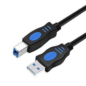 VOXLINK Cable USB 2.0 Impresora, 1,8m Cable USB A Macho a B Macho para Escáner y impresoras, Compatible con Epson, Brother HP, Brother, Samsung, Canon ...