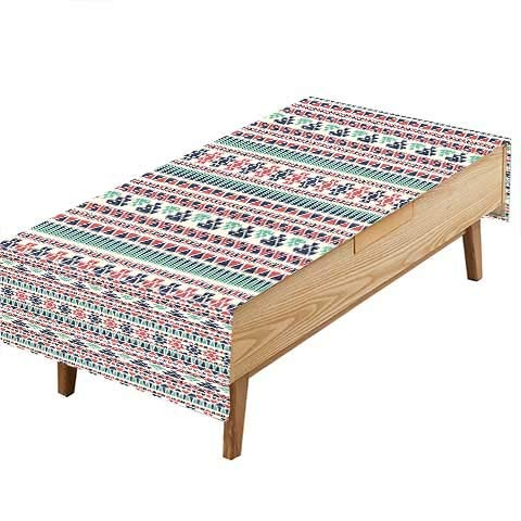 PINAFORE Fitted Polyester Tablecloth Tribal Navajo Design Earth Colors Simple Art Dark Grey Cream Kitchen W60 x L102 INCH