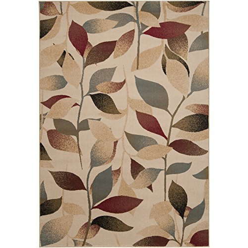 Rug Leaves Transitional - Parker Dark Red, Cream and Dark Brown Transitional Area Rug 5'3